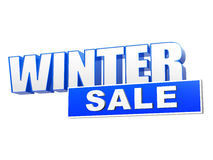 Winter sale in 3d blue letters and block. Over white background, business seasonal concept Royalty Free Stock Photo