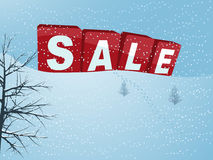 Winter sale in 3D letters over snow hill background Stock Photo