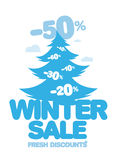 Winter sale design template. Winter sale blue design template Royalty Free Stock Images