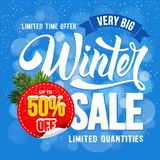 Winter sale advertise design. Winter Sale. Design of trendy and bright advertising layout with calligraphic inscription and sticker with discount percentage Stock Photos