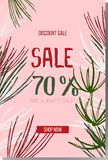 Winter sale and discount 70%. Advertising web banner. Advertising banner for sale. Vector promo banner with hand lettering Sale 70%. Isolated pink background Stock Photography