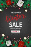 Winter sale discount banner, poster, flyer template. Special seasonal offer. Fir branches, paper gifts boxes, cookies, candies. Winter sale discount banner Royalty Free Stock Photo