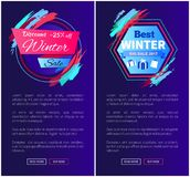 Winter Sale Discount -25 Off Vector Illustration. Winter sale discount -25 off, collection of internet pages with emblems, text and buttons, saying read more and Royalty Free Stock Images
