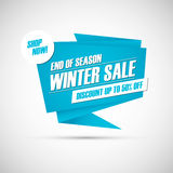Winter Sale. End of season special offer banner, discount up to 50% off. Shop now! Stock Photography