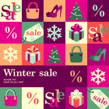 Winter sale. Winter fashion sale design template card. Vector background Stock Photography
