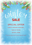 Winter sale flyer template. Seasonal discount background for business design. Vector illustration with lettering and snow. Realistic fir-tree branches and ice on Stock Photos