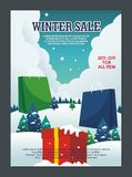 Winter Sale flyers, posters template design stock illustration