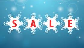 Winter sale four snowflake Stock Photo