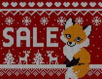 Winter Sale Fox:  Scandinavian style seamless knitted pattern with deers and trees.  Stock Image