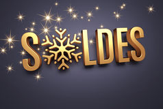 Winter sale in French word. French word for sale in gold lettering with a snowflake as winter symbol Stock Image