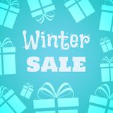 Winter sale. Gifts icons on the light blue background. Vector illustration for seasonal promotion, winter Holidays vector illustration