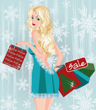 Winter sale girl with shopping bags. Vector illustration Stock Photography