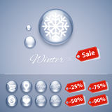 Winter Sale Glossy Buttons Templates Royalty Free Stock Photography