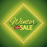 Winter sale with green lights Stock Image