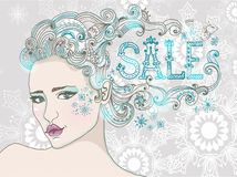 Winter Sale and Hand Drawn Beautiful woman Stock Images