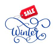 Winter sale hand written inscription on christmas white background Royalty Free Stock Photo
