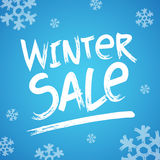 Winter Sale header picture with snow Vector illustration hand writen Stock Photos
