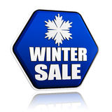 Winter sale, hexagon banner, snowflake symbol Royalty Free Stock Images
