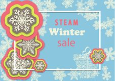 Winter sale horizontal banner with colorful snowflakes and frame. Stock Photography
