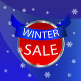Winter sale icon. Icon winter sale on a blue background with snowflakes Stock Image