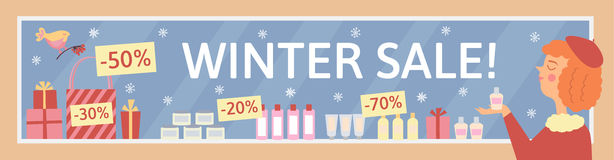 Winter sale illustration with showcase of cosmetic. Vector winter illustration. Woman goes shopping and buy perfume Stock Photo