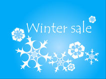 Winter sale illustration. Winter sale sign with snowflakes Royalty Free Stock Photos