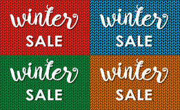 Winter sale. Ink painted inscription on blue background from knitted wool. Vector illustration. Stock Image