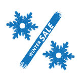 Winter sale label. Percent sign in a form of the hollow snowflake Stock Photography