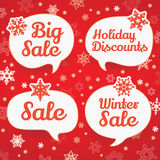 Winter sale labels in form of speech bubbles Stock Photos