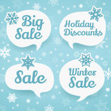 Winter sale labels in form of speech bubbles Stock Photography