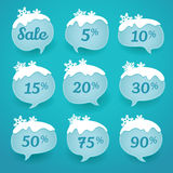 Winter sale labels in form of speech snow bubbles Royalty Free Stock Photos