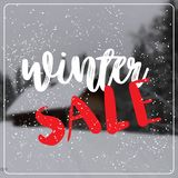 Winter sale lettering design season shopping template special discount poster over blur village snowy house fir tree. Forest background flat vector illustration vector illustration