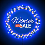 Winter sale lights frame Royalty Free Stock Photos