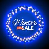 Winter sale lights frame Royalty Free Stock Photos