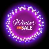 Winter sale lights frame Stock Photography