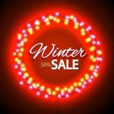 Winter sale lights frame Royalty Free Stock Photo