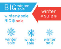 Winter sale logo collection. Winter sale logo set collection. Blue snow big snowflake sign symbol red and blue lettering. Arrows indicate the direction of sales Stock Images