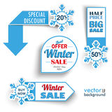 Winter Sale Markers Snowflakes. Paper banners with snowflakes for the winter sale Stock Photo