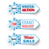 3 Winter Sale Markers Snowflakes WSV. German text WSV, Eiskalt Reduziert, translate Winter Sale, Frozen Prices Royalty Free Stock Image