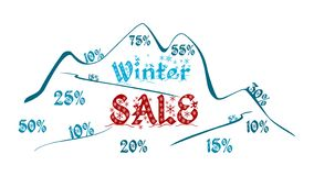 Winter sale - mountain full of discounts royalty free illustration