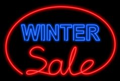 Winter sale neon Stock Images
