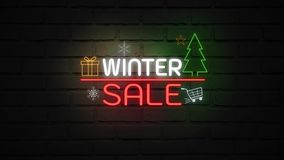 WINTER SALE neon light on wall. Sale banner blinking neon sign style for promo video. concept of sale and clearance