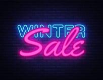 Winter Sale neon text vector design template. Big Winter Discount neon logo, light banner design element colorful modern Royalty Free Stock Photo