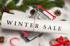 Winter sale. Newspaper and shopping cart Royalty Free Stock Photos