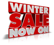 Winter Sale Now On. Very large WINTER SALE NOW ON 3D type perfect for banners, leaflets, point of pale and posters. Created in Cinema4D Stock Image