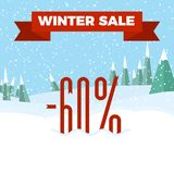 Winter sale numbers on the beautiful Christmas landscape background with trees, snowflakes, falling snow. Winter sale numbers on the beautiful Christmas flat stock illustration