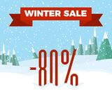 Winter sale numbers on the beautiful Christmas landscape background with trees, snowflakes, falling snow. Winter sale numbers on the beautiful Christmas flat royalty free illustration