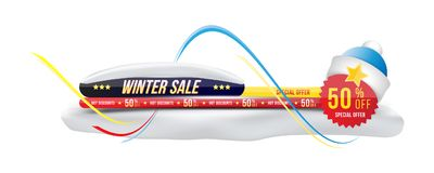 Winter sale 50 off discount. Banner with shadow in horizontal format with sticker. Big discount, template for print. Advertising and web banner. Flat vector Stock Photography