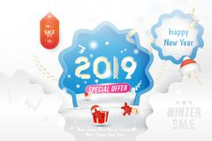 Winter Sale 50 off. Happy new year 2019 Greeting card template with gift box and snowdrifts on white background with. Special offer. Creative banner with stock illustration