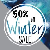 Winter sale advertisement. 50% off sign. Abstract frame. Winter sale, 50% off sign. Abstract background. Round frame. Marketing materials stock illustration